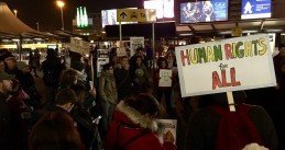 Dozens protest at Schiphol against Donald Trump banning people from 7 Muslim countries from the U.S., 29 Jan 2017