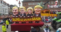 Adolf Hitler, Geert Wilders, Marine Le Pen and Donald Trump all lined up on a float in the Dusseldorf carnival, float by Jacques Tilly