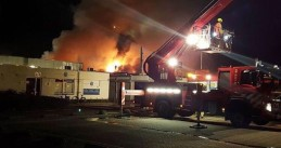 Fire in Weezenhof shopping center in Nijmegen, started in empty Spar supermarket, 11 Apr 2017