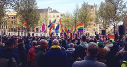 "Hundreds gather at the Gay Monument in Amsterdam to protest against ""gay camps"" in Chechnya, Russia, 19 Apr 2017"