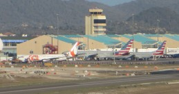 Gol, American Airlines and JetBlue aircraft at Queen Beatrix International Airport, Aruba