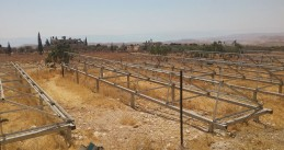 Empty structures that used to hold solar panels - Israeli army destroys a Dutch development project in the Palestinian village Jubbet adh Dhib on the west bank of the Jordan, 28 Jun 2017