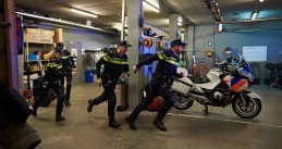 Dutch police officers responding to a report of a crime