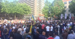 Some 2,000 people gather on Schouwburgplein in Rotterdam to protest against human rights violations in Morocco's Rif region, 4 Jun 2017