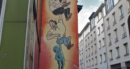 A Suske en Wiske painting on a wall in Brussels
