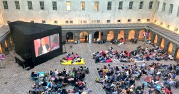 Amsterdammers gather at the Scheepvaartmuseum to watch mayor Eberhard van der Laan's interview on Zomergasten, 30 Jul 2017