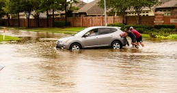Hurricane Harvey causes flooding in Pearland, Texas, 27 Aug 2017