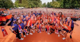 The Oranje Lionesses celebrate their European Championship in the Lepelenburg Park in Utrecht, 7 Aug 2017