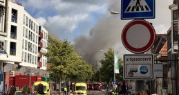 Emergency services at the scene of a massive fire at Holland Casino in Groningen, the casino was completely destroyed, 27 Aug 2017