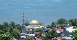 A distant overall view of the town of Pare-Pare, South Sulawesi, Indonesia