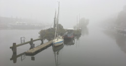 Foggy morning on Zeeburgerkade in Amsterdam Oost, 27 Sept 2017