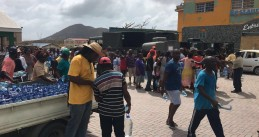 Sint Maarten residents standing in line for drinking water, 12 Sept 2017