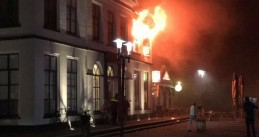 A fire destroys the monumental former town hall in Wolvega, Friesland, 12 Sept 2017