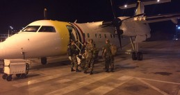 Soldiers traveling from Curacao to Sint Maarten to provide support in aftermath of Hurricane Irma, 9 Sept 2017