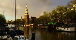 A rainbow brightens the cloudy sky in Amsterdam, 27 Oct 2017