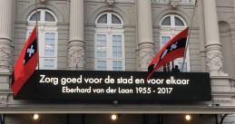 Amsterdam mayor Eberhard van der Laan's last order to his people on the Concertgebouw, where thousands gathered to say their last goodbyes to him, 13 Oct 2017