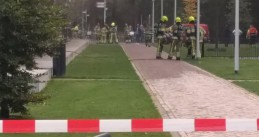 Firefighters at the scene of a fire in the Grotius building at Radboud University Nijmegen, 17 Oct 2017
