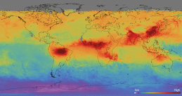 An image of world air pollution taken by Dutch space instrument Tropomi