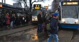 Amsterdam trams packed full on a snowy Monday morning, 11 Dec 2017