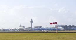 Windy day at Schiphol Airport