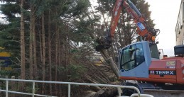 Blown down trees being lifted off the railway, 18 Jan 2018