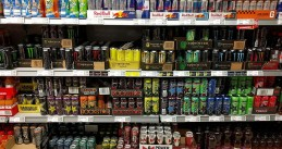 Energy drinks in a supermarket