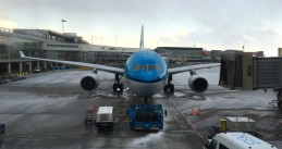 A KLM plane at an icy Schiphol Airport, 12 Feb 2018