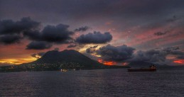 A morning view panorama & landscape of Sint Eustatius from the ship anchorages
