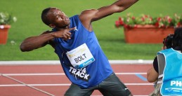 Usain Bolt striking his pose at the Golden Gala in Rome, Italy, 26 May 2011