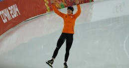 Irene Wust after winning gold in the 3,000m in the Winter Olympics 2014