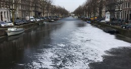 A stretch of the Keizersgracht where skaters were seen on 1 March 2018