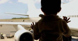 Child and airplane