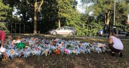 Flowers left at the scene of a fatal rail accident on Braakstraat in Oss, four children were killed, 20 Sept 2018
