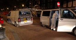 Forensic investigators at the scene of a fatal shooting on Rechthuislaan in Rotterdam, 28 Oct 2018
