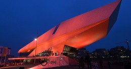 EYE film museum in Amsterdam illuminated in orange to protest violence against women and girls, 25 November 2018