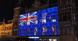 New Zealand flag projected onto Amsterdam Central Station after two attacks on Mosques in Christchurch, 15 March 2019