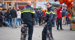 Police officers in Amsterdam on King's Day 2018