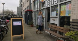 A voter walking into a polling station in Amsterdam Oost, 20 March 2019