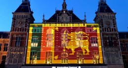 Sri Lankan flag projected onto Amsterdam Central Station after Easter Sunday attacks, 23 April 2019