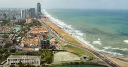 Aerial photo of the Colombo, Sri Lanka coast