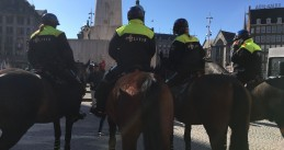 Amsterdam police on Dam Square ahead of the Champions League quarter finals match between Ajax and Juventus, 10 April 2019