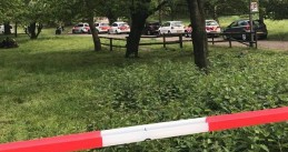 Police in nature reserve Brunssummerheide where a man and woman were stabbed to death while walking their dogs, 7 May 2019
