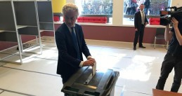 Geert Wilders casts his vote for the European Parliament elections, 23 May 2019