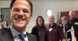 Mark Rutte takes a selfie after voting in the European Parliament elections at a polling station in The Hague, 23 May 2019