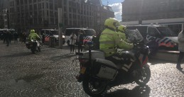 A heavy police presence around Dam Square in Amsterdam before the Champions League semi-final, 8 May 2019