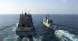 US Navy ships on the Gulf of Oman