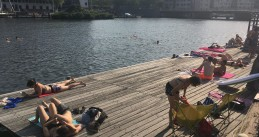 Swimming and tanning at Borneokade in Amsterdam Oost, 24 July 2019