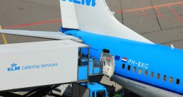 KLM Catering Services delivering meals to a KLM plane