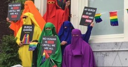 PvdA councilor Hendrik Jan Biemond and others protesting the burka ban during Canal Pride in Amsterdam, 3 August 2019