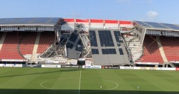 The roof of the AFAS stadium in Alkmaar partially collapsed during a storm, 10 August 2019